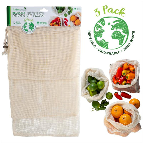Kitchen Details 3 Pack Reusable Cotton Mesh Produce Bags (Case Pack of 24)