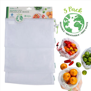 Kitchen Details Sanitized 3 Pack Reusable Cotton Mesh Produce Bags (Case Pack of 12)