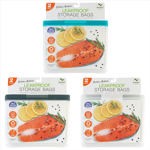 2PK EVA LEAK-PROOF BAG LARGE 12 INCHES - AST COLORS (Case Pack of 12)