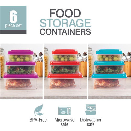 6Pc set Plastic Storage Container w.clear lid - Rectangular (Case Pack of 36)