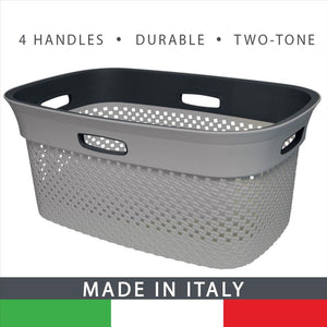 2-Tone Tetris Wide Laundry Basket W. 4 Open Handles - Grey -45L (Case Pack of 7)