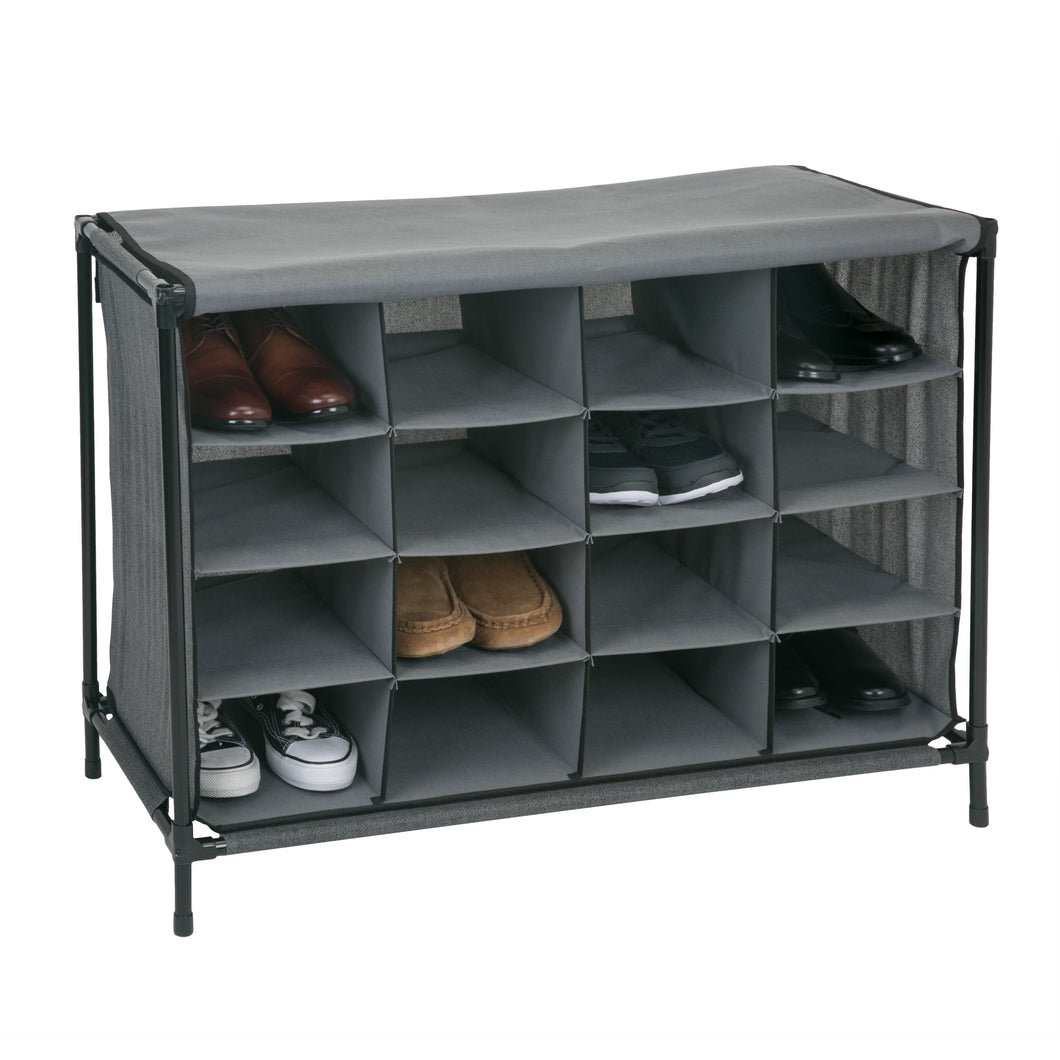 16 Compartment Shoe Cubby Organizer W/Cover - Grey