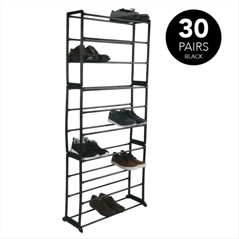 30 Pair Shoe Rack - 10 Tiers - Black