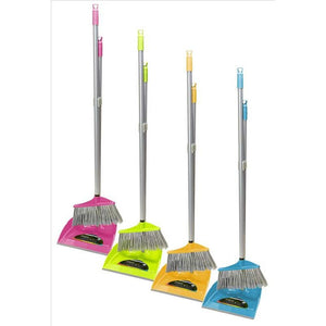 COLLAPSIBLE DUSTPAN W/BROOM SET SOLID COLORS