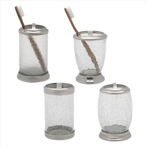 Cracked Glass W. Stainless SteelToothbrush Holder (Case Pack of 12)