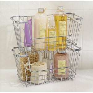 "STACKABLE STORAGE BASKET - CHROME-SMALL 12.80""X5.51""X6.50"""