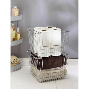 "STACKABLE STORAGE BASKET - CHROME- LARGE 12.80""X10.83""X8.86"""