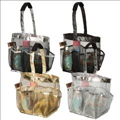 Bath Tote W/ Rubber Mesh- Metallic Colors (Case Pack of 24)