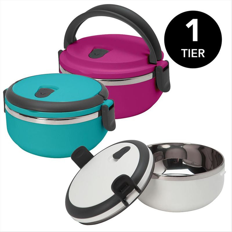 Round 1 tier Stainless Steel Insulated Lunch Box (Case Pack of 12)