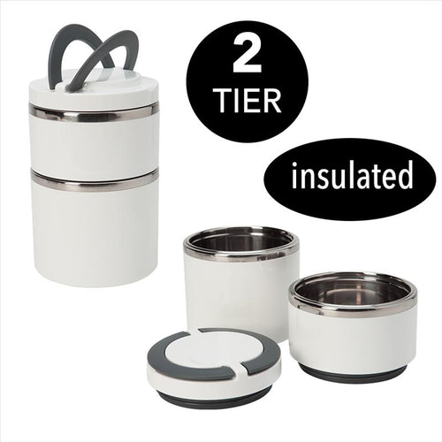 Kitchen Details 2 Tier Round Twist Stainless Steel Insulated Lunch Box in White (Case Pack of 12)