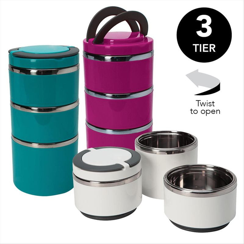 Round Twist 3 Tier Stainless Steel Insulated Lunch Box