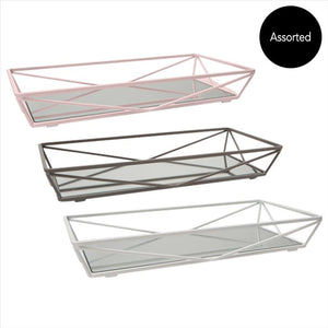Geometric Mirrored Vanity Tray 14x7 - Matte Assorted 3 (Case Pack of 6)