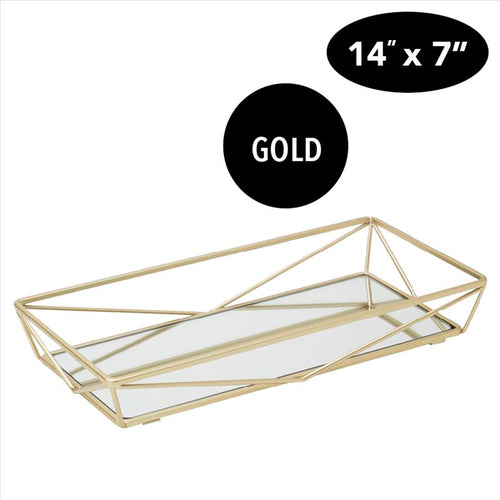 Home Details Geometric Design Mirror Vanity Tray in Gold (Case Pack of 6)