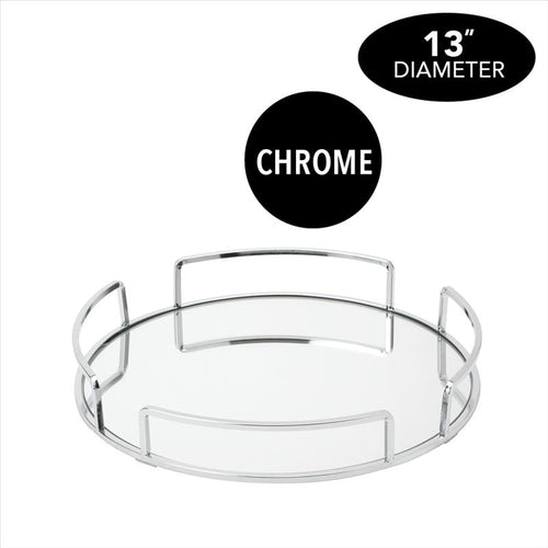 Home Details Modern Round Design Mirror Vanity Tray (Case Pack of 6)