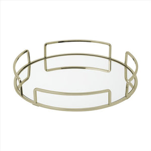 Home Details Modern Round Mirror Vanity Tray in Satin Gold (Case Pack of 6)