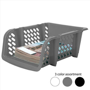Stackable Plastic Storage Deep Basket  - Solid  Asst.Colors