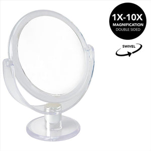 "Home Details Dual Sided 10X Magnification 7"" Rubberized Vanity Mirror in Clear (Case Pack of 12)"