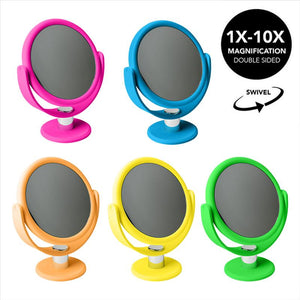 "7"" Vanity Rubberized Mirror  1x-10x magnification -NEON (Case Pack of 12)"