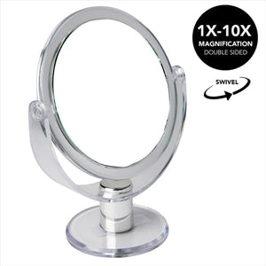 "5"" Vanity Rubberized Mirror  1x-10x magnification (Clear) (Case Pack of 12)"