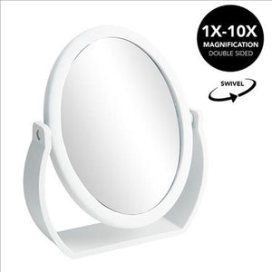 Home Details Swivel 10X Magnification Rubberized Vanity Mirror in White (Case Pack of 12)