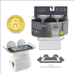 Bath Bliss Power Lock Toilet Paper Dispenser with Cell Phone Holder Shelf (Case Pack of 12)