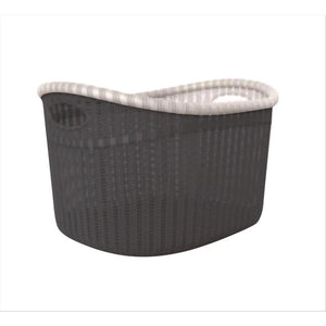Sailor Knot Woven Laundry Basket Wide - Grey W/White Trim