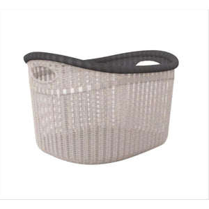 Sailor Knot Woven Laundry Basket Wide - White W/Grey Trim