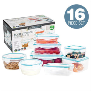 Kitchen Details 16 Piece Food Storage Container Set with Airtight, Clip-Lock Lids (Case Pack of 12)