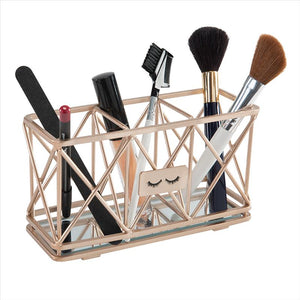 Home Details 3 Compartment Cosmetic Brush Pencil Holder in Rose Gold (Case Pack of 24)