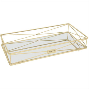 "Home Details ""Gorgeous"" Vanity Tray in Satin Gold (Case Pack of 6)"