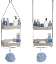 Convertible/Flexible Shower Caddy/ -Taupe . Hangs on Poles too. (Case Pack of 12)