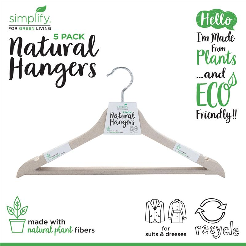 Simplify 5 Pack Eco Friendly Eco-Wheat Natural Hangers (Case Pack of 24)