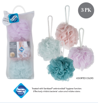 3PK SANITIZED LOOFAH SHOWER SPONGE 60G W. MESH BAG (Case Pack of 36)
