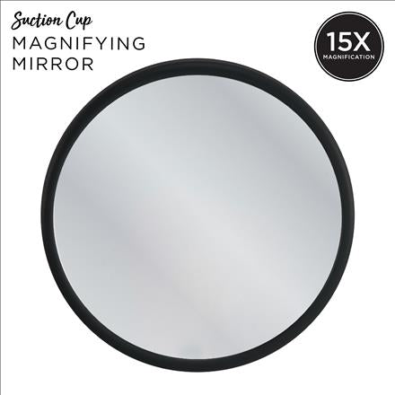 15X Magnifying Mirror with Suction Cups- Black (Case Pack of 24)