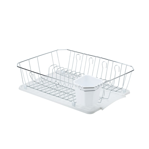 CHROME DISH RACK W/CUP+TRA WHITE 17.5