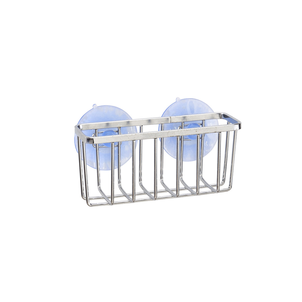 CHROME SPONGE BASKET WITH 2 SUCTION CUPS