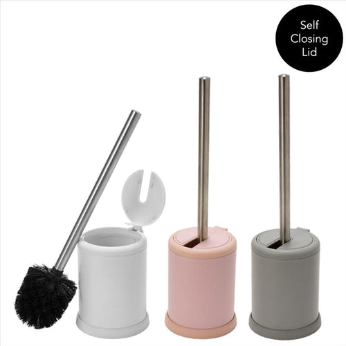 TOILET BRUSH WITH CLOSING LID - ASSORTED 3 COLORS (Case Pack of 12)