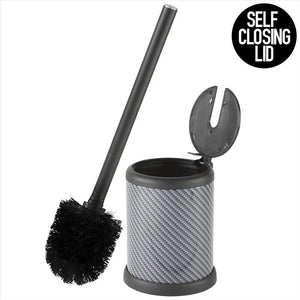 Bath Bliss Self Closing Lid Toilet Brush and Holder in Carbon (Case Pack of 12)