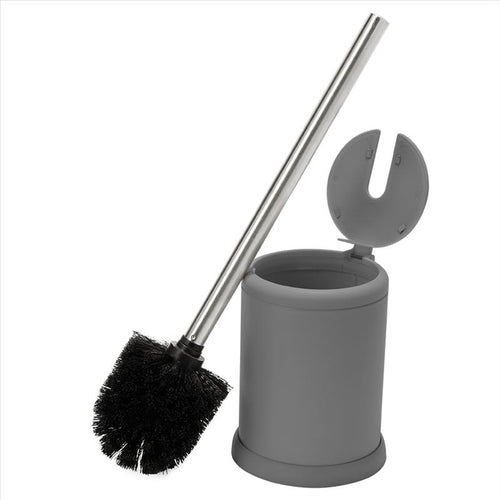 Bath Bliss Self Closing Lid Toilet Brush and Holder in Grey (Case Pack of 12)