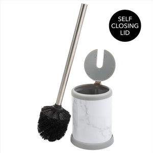Bath Bliss Self Closing Lid Toilet Brush and Holder in Marble (Case Pack of 12)