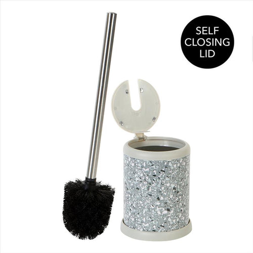 Bath Bliss Self Closing Lid Toilet Brush and Holder in Terz Grey (Case Pack of 12)
