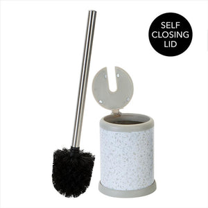 Bath Bliss Self Closing Lid Toilet Brush and Holder in Terz White (Case Pack of 12)