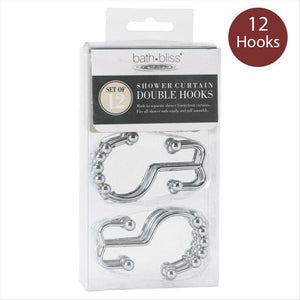 12pc Rolling Double Shower Hook-Chrome (Case Pack of 48)
