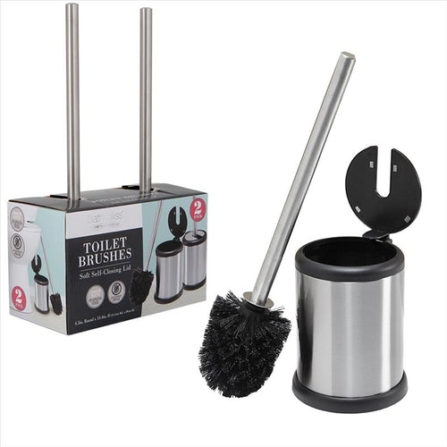 Bath Bliss 2 Pack Self Closing Lid Toilet Brush and Holder in Stainless Steel (Case Pack of 6)