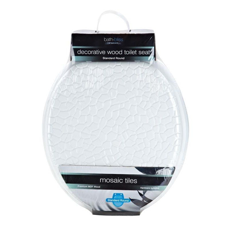 MOSAIC WOOD TOILET SEAT WHITE (Case Pack of 4)