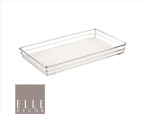 Elle Décor Limoges Collection Rectangular Vanity Tray (Chrome) (Case Pack of 6)