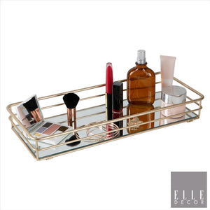 Elle Décor Rectangular Mirrored Bottom Vanity Tray in Satin Gold (Case Pack of 6)