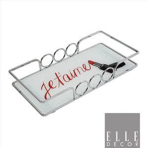 "Elle Décor  ""Je Taime""  Vanity Tray (Chrome) (Case Pack of 6)"