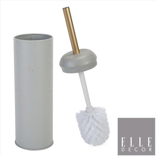 MODERN METAL TOILET BOWL BRUSH WITH GOLD SPECKLES AND HANDLE - GREY (Case Pack of 12)