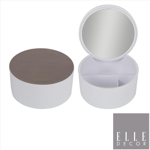 MODERN PLASTIC WHITE COSMETIC BOX WITH MIRROR AND METALLIC SILVER LID (Case Pack of 12)